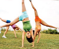 Women doing cartwheels