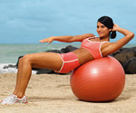 Oblique ball crunch