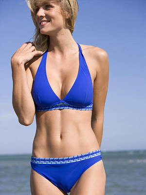model wearing Gottex swimsuit