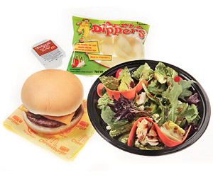 Cheeseburger, Side Salad With Low Fat Balsamic Vinaigrette, and Apple Dippers from McDonald's