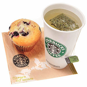 Lowfat Blueberry Muffin and unsweetened green tea from Starbucks