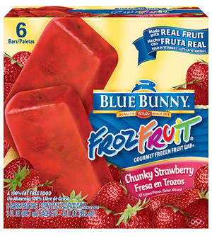 Blue Bunny FrozFruit Chunky Strawberry Gourmet Frozen Fruit Bar
