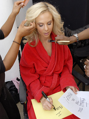 Elisabeth Hasselbeck having her hair done on set