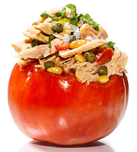 Tomato Stuffed With Tuna, Capers, Basil and Pine Nuts