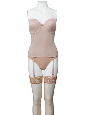 Va Bien Ultra Lift Seamless Bustier, Barely There Ultra Firm Hi-Cut Panty and Hanes Silk Reflections Lace Top Thigh Highs