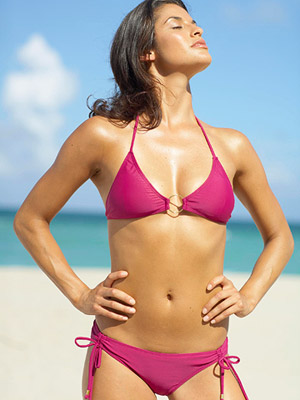 tan woman in bikini