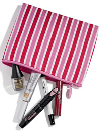 makeup bag with beauty products