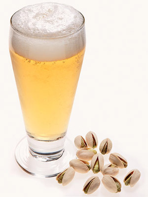 light beer and 12 pistachios