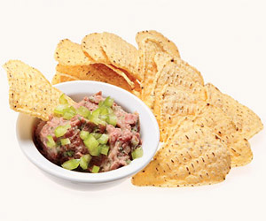 low-fat spicy bean dip and baked tortilla chips
