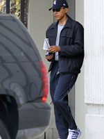 President Barack Obama leaving the gym