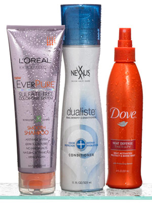 L'Oreal Paris EverPure Smooth Shampoo, Nexxus Dualiste Color Protection and Intense Hydration Conditioner, Dove Heat Defense Therap Mist