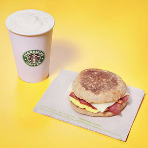 Starbucks coffee and turkey bacon sandwich