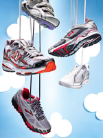 running shoes and sneakers hanging