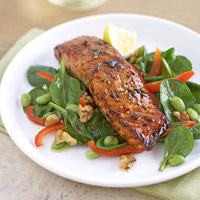 Maple Salmon With Greens, Edamame and Walnuts