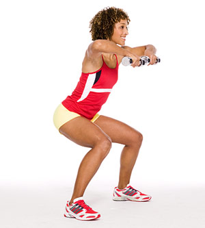 Sidestep Squat With Row B