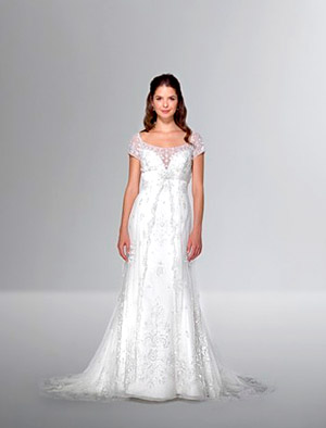 Cap-sleeve wedding dress