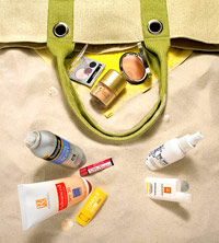sunscreens, beauty products with SPF