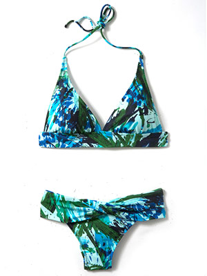 Sunsets Brush Strokes banded halter top and twist V-front bottom