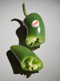 pepper with toxic sticker