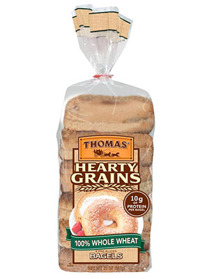Thomas' Hearty Grains 100% Whole Wheat Bagels