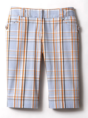 LIJA by Linda Hipp Parker Plaid Button Knee cotton-blend shorts