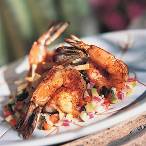 Shrimp With Apple-Chipotle Salsa