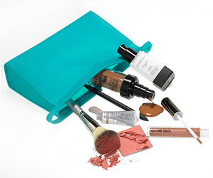 beauty products in a beauty bag