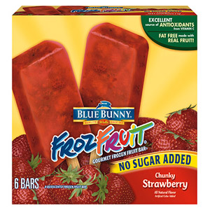 Blue Bunny FrozFruit No Sugar Added Chunky Strawberry Sorbet Bar