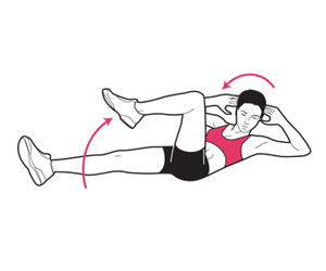 bicycle crunches to strengthen abs and obliques