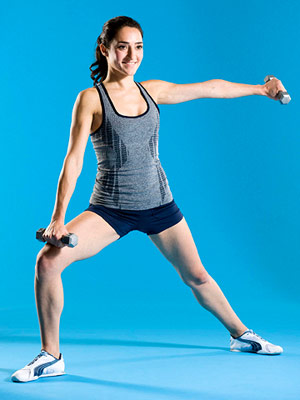 Side Lunge With Teacup Raise
