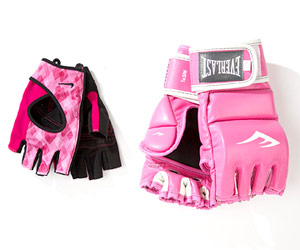 Everlast Women's Leather Kickboxing gloves and Nike Women's Elite Fitness gloves