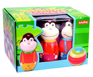 Schylling Wooden Monkey Bowling Set