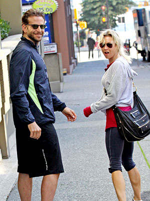 Renee Zellweger and Bradley Cooper in workout gear
