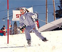 Gretchen Bleiler skiing as a child