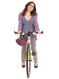 Pam Lowenstein riding a bike