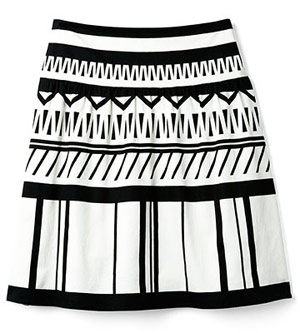 The Limited A-Line Stripe cotton-blend skirt