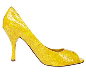 yellow peep toe shoes