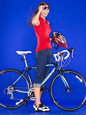 woman on bike with biking gear