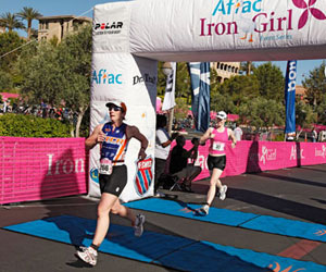 Rachel crossing the finish line