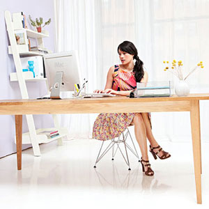 woman at work desk