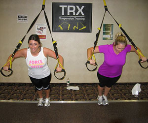 Michelle and Alison working out