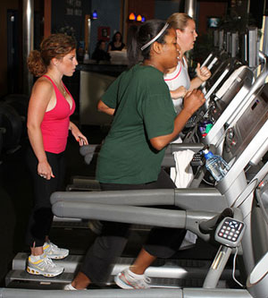 Tanya and Tabitha working out