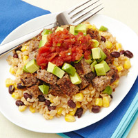 Veggie Burger Rice and Beans