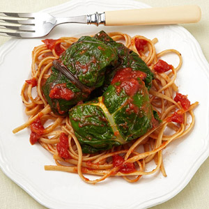 Pasta With Ricotta-Stuffed Mustard Greens