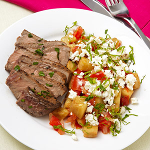 Seared Steak With Eggplant Saute