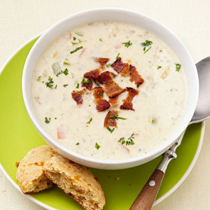 Clam Chowder With Whole-Wheat Biscuits