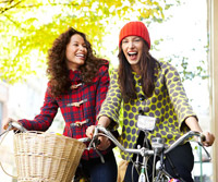 women on bikes