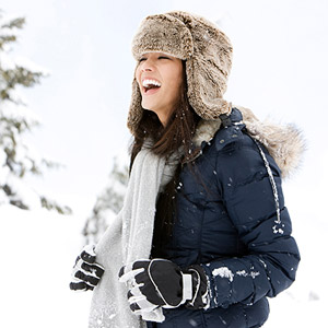 woman enjoy the wintery outdoors