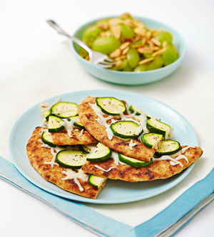Rosemary and Zucchini Flatbread With Grape Salad