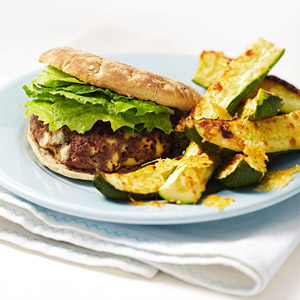 Blue Burger With Zucchini Parmesan Wedges
